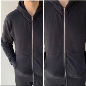 NWT Mens Terry Cloth Black Zip Up Sweatshirt